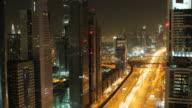 dubai city skyline at night time lapse video