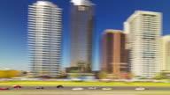 dubai city sunny day metro ride window view 4k time lapse united arab emirates video