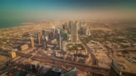 dubai city sunrise downtown roof top panorama 4k time lapse united arab emirates video