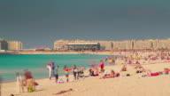 dubai marina city famous beach life palm panorama 4k time lapse united arab emirates video