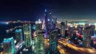dubai marina downtown night illumination roof top panorama 4k time lapse united arab emirates video
