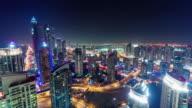 dubai marina night illumination traffic roof top panorama 4k time lapse united arab emirates video