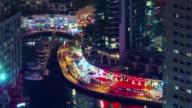 dubai marina night light bay restaurant dock roof view 4k time lapse united arab emirates video