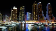 Dubai Marina night time lapse, United Arab Emirates video