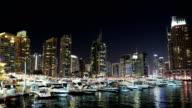 UHD 4K Dubai Marina night time lapse, United Arab Emirates video