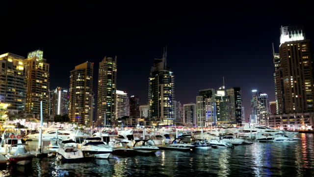 UHD 4K Dubai Marina night time lapse, United Arab Emirates video