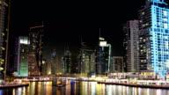 UHD 4K Dubai Marina night zoom out time lapse, United Arab Emirates video