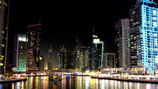UHD 4K Dubai Marina night zoom out time lapse, United Arab Emirates video