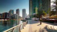 dubai marina sunny day walking bay panorama 4k time lapse united arab emirates video