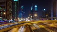 dubai night illumination main city traffic road bridge view 4k time lapse united arab emirates video