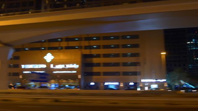 dubai night light road trip side panorama 4k united arab emirates video