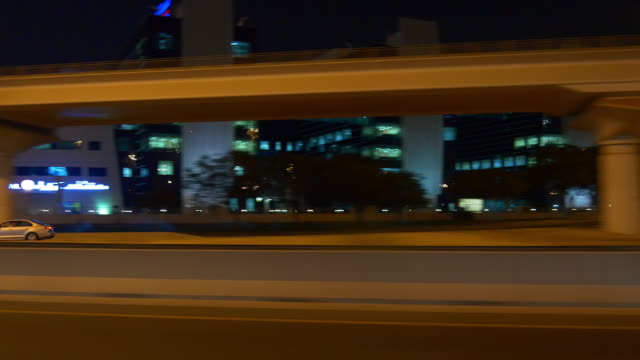 dubai night road trip side window panorama 4k united arab emirates video