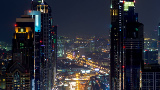 Dubai Sheikh Zayed Road night timelapse near Dubai Downtown Closer Look shows the density of these roads video
