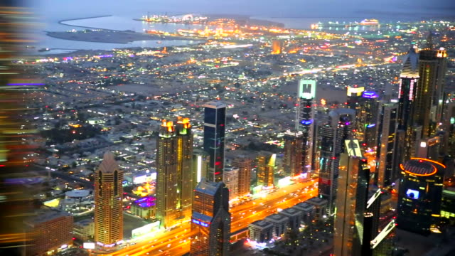 Dubai sky line with traffic video