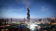Dubai Skyline at dusk with fountain light show video