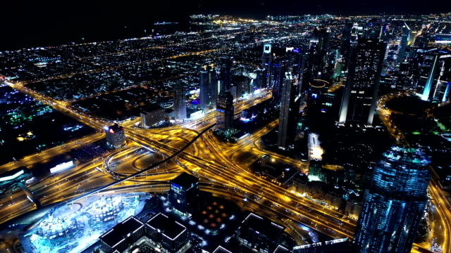 Dubai skyline at night video