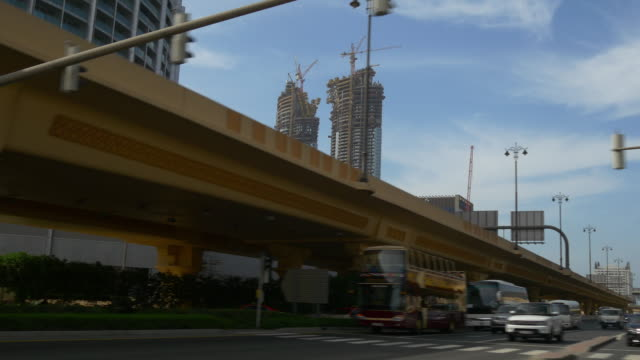 dubai sunny day traffic metro line road trip  4k united arab emirates video