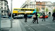 Dublin city center with pedestrians and Dublin bus video