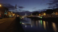 Dublin Ha'penny Bridge Over Liffey River At Blue Hour video