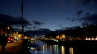 Dublin Ha'penny Bridge Over Liffey River At Blue Hour video