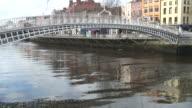 (HD1080i) Dublin, Ireland: People Crossing the Ha'penny Bridge -Time Lapse- video