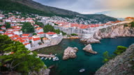 Dubrovnik in Croatia, scenic view on city wall video