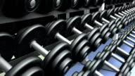 Dumbbells on a rack, loop video