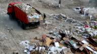 Dump truck in the city dump video