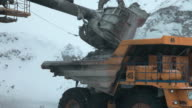 Dump truck loaded with an excavator video