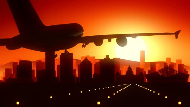 Durban South Africa Airplane Landing Skyline Golden Background video