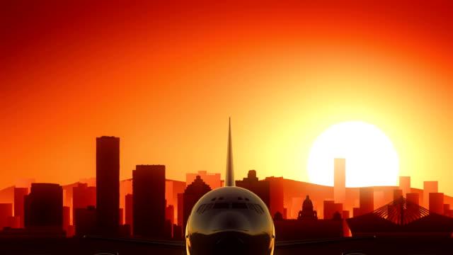 Durban South Africa Airplane Take Off Skyline Golden Background video