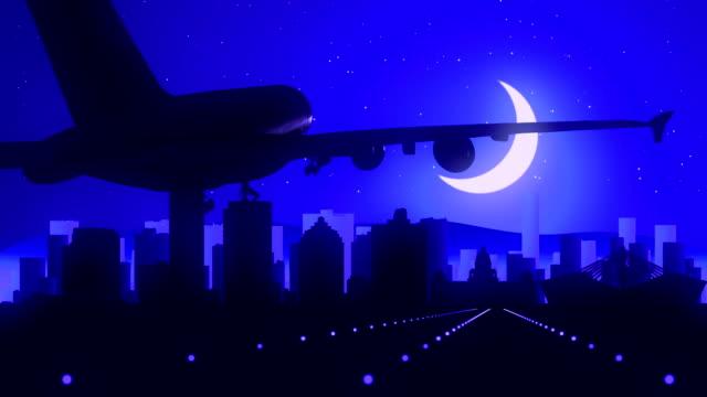 Durban South Africa Blue Airplane Landing Skyline Midnight Background video