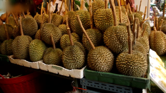 Durian stall on street in Bangkok video
