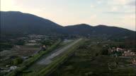 Dusk Approaching Marina Di Campo Airport  - Aerial View - Tuscany, Provincia di Livorno, Campo nell'Elba, Italy video