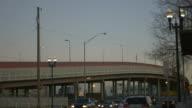 Dusk Border Crossing Traffic Near Bridge video