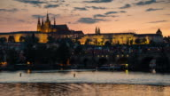 Dusk to Night Time Lapse at Prague Castle, Prague, Czech video