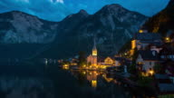 Dusk to Night Time Lapse, Cityscape at Hallstatt Village, Austria video