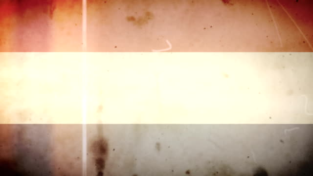 Dutch Flag - Grungy Retro Old Film Loop with Audio video