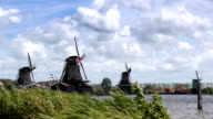 Dutch wind mills at the Zaanse Schans in Holland video