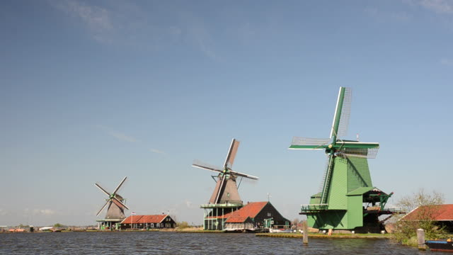 Dutch windmill landscape video