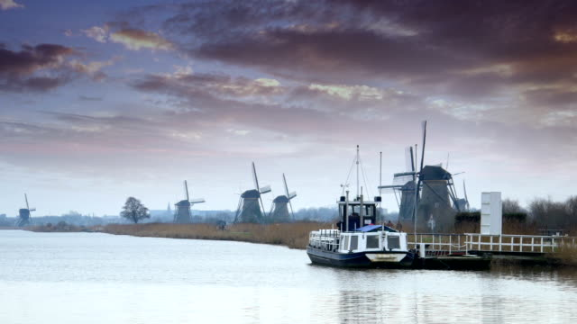 Dutch windmills and dramatic skies at polder Kinderdijk video