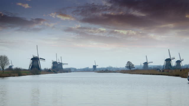Dutch windmills and polder at Kinderdijk video