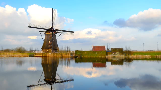 Dutch Windmills at sunset in the famous kinderdijk, Netherlands video