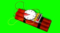 Dynamite bomb with clock timer - 10 sec.time laps - green screen video