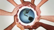 Earth and Hands in a circle. Loopable f111/f605. video