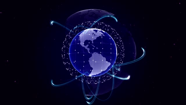 Earth, Connection Network Concept, Animation, Rendering Background, Loop video