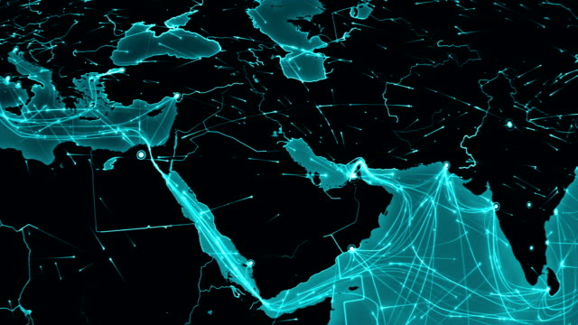 Earth connections. Aerial, maritime, ground routes/country borders. Middle East. video