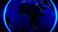 Earth connections. Africa. Aerial, maritime, terrestrial routes and country borders. video