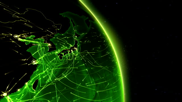 Earth connections. Asia. Aerial, maritime, ground routes and country borders. video