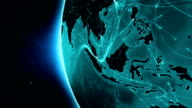 Earth connections. Asia. Aerial, maritime, ground routes/country borders. video